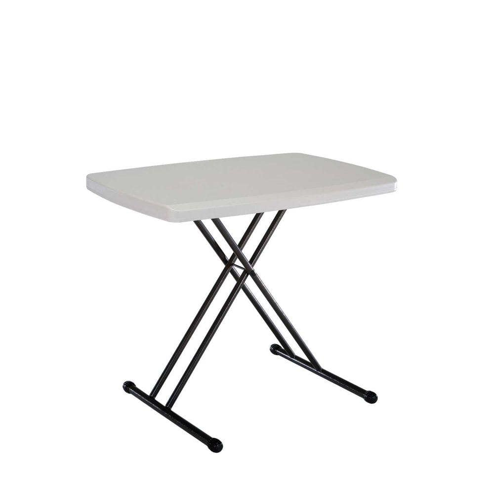 Lifetime 30 In Almond Plastic Adjustable Height Folding Personal Table 28240 The Home Depot