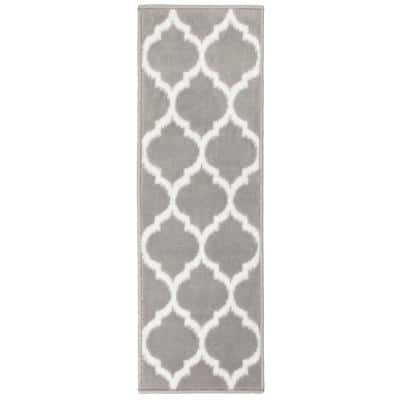 Trellis Collection Gray 9 in. x 28 in. Polypropylene Stair Tread (Set of 7)