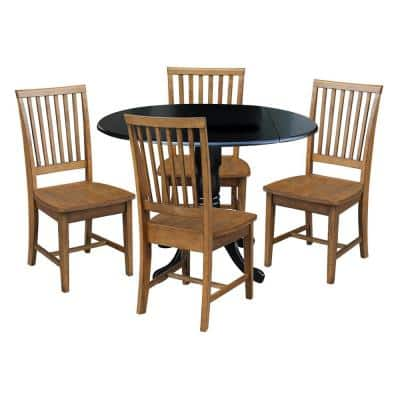 5-Piece 42 in. Black/Pecan Dual Drop Leaf Table Set with 4-Side chairs