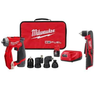 M12 FUEL 12-Volt Lithium-Ion Brushless Cordless 4-in-1 Interchangeable 3/8 in. Drill Driver Kit with Right Angle Drill
