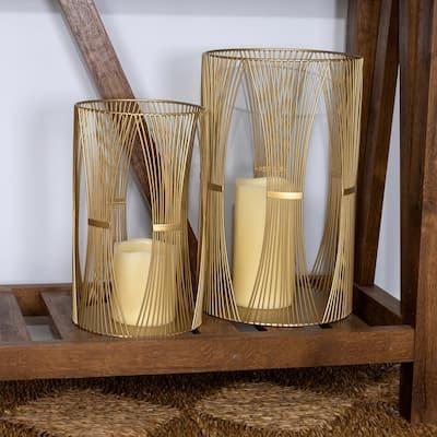 Boho Gold Metal Hurricane Candle Holders (Set of 2)