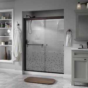 Portman 60 in. x 70 in. Semi-Frameless Traditional Sliding Shower Door in Bronze with Mozaic Glass