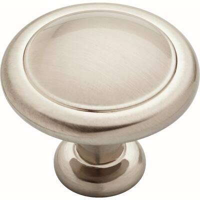 Essentials 1-1/4 in. (32 mm) Satin Nickel Round Ringed Cabinet Knob (25-Pack)