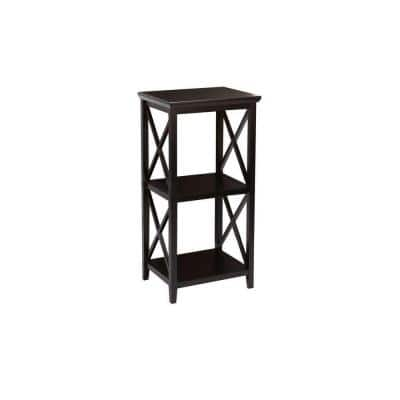 X-Frame 18 in. W 3-Shelf Storage Tower in Espresso