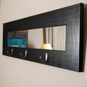 Small Rectangle Black With Silver Accents Hooks Modern Mirror (10.5 in. H x 32.5 in. W)