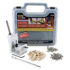 76-Piece Aluminum Pocket Hole Jig Kit with Pocket Screws Dowels and Storage Case