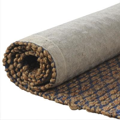 Natural Fiber Tan/Blue 9 ft. x 12 ft. Hand Woven Geometric Jute Blend Area Rug