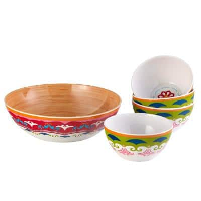 3.15 in. H 144 oz. Large Bowl and 3.125 in. H 37 oz. Small Bowl Multicolor Melamine Serveware (Set of 5)