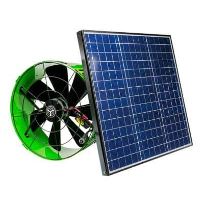 40-Watt Hybrid Solar/Electric Powered Gable Mount Attic Fan with Included Inverter