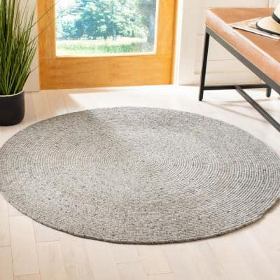 Braided Light Gray 6 ft. x 6 ft. Round Solid Speckled Area Rug