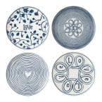 Blue Love Mixed Pattern 8 in. Blue and White Accent Plates (Set of 4)