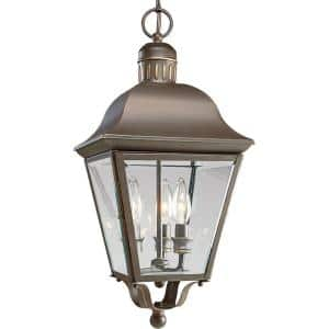 Andover Collection 3-Light Antique Bronze Clear Beveled Glass Farmhouse Outdoor Hanging Lantern Light