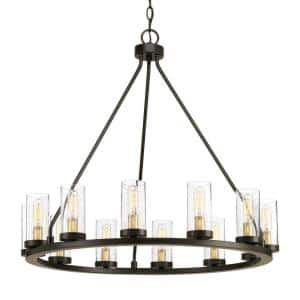 Hartwell 26.63 in. 12-Light Antique Bronze Dining Room Chandelier with Clear Seeded Glass and Natural Brass Accents