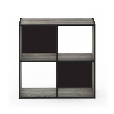 Pelli 24.17 in. French Oak Gray Wood 4-shelf Cube Bookcase with Open Back