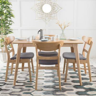 Idalia 5-Piece Dark Grey and Natural Oak Dining Set