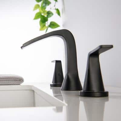 8 in. Widespread 2-Handle 3-Hole Split Brass Bathroom Faucet Set with Water Supply Lines in Black