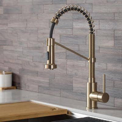 Bolden Single Handle Kitchen Faucet with Deck Plate in Spot Free Antique Champagne Bronze Finish