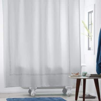 Pawling 72 in. White Solid Cotton Standard Shower Curtain