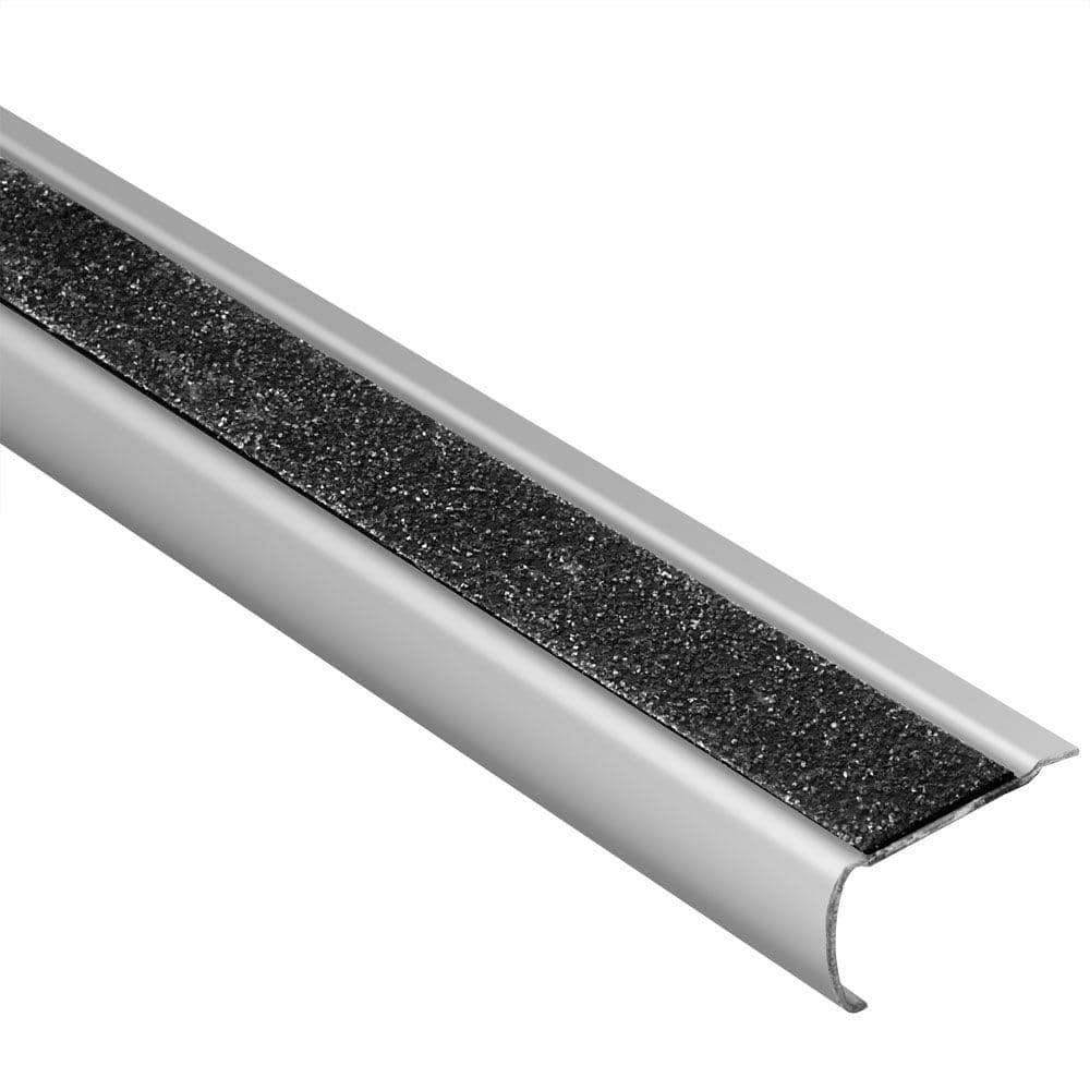 Schluter Systems Trep Gk B Brushed Stainless Steel Black 1 16 In X 4 Ft 11 In Metal Stair Nose Tile Edging Trim Gbebkgs 150 The Home Depot