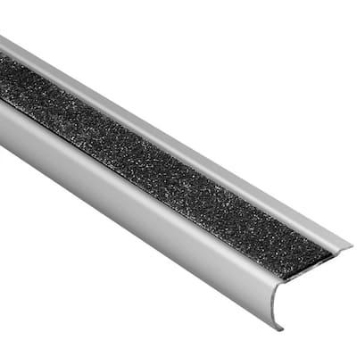 Trep-GK-S Brushed Stainless Steel/Black 1/16 in. x 8 ft. 2-1/2 in. Metal Stair Nose Tile Edging Trim