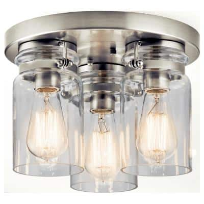 Brinley 11.75 in. 3-Light Brushed Nickel Flush Mount Ceiling Light with Clear Glass