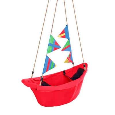 47 in. Heavy-Duty Canvas Regatta Boat Swing withColorful Flags in Red