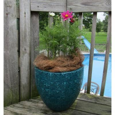 Fairfield 15.08 in. W x 14.17 in. H Teal Patina Resin Decorative Planter
