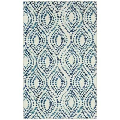 Dotted Ogee Navy 9 ft. x 12 ft. Geometric Area Rug