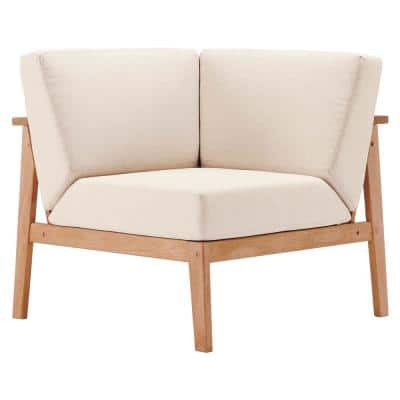 Sedona Eucalyptus Wood Corner Outdoor Sectional Chair in Natural with Taupe Cushions