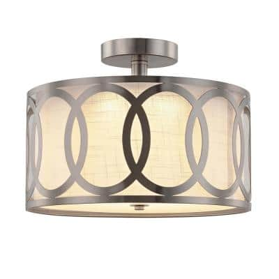 13.5 in. Brushed Nickel Integrated LED Semi-Flush Mount