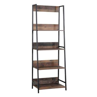 71 in. Planked Knotty Pine Wood 4-shelf Ladder Bookcase with Open Back
