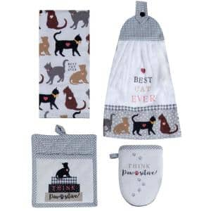 Fur Real Pets Cats Cotton Tan Kitchen Textiles (Set of 4)