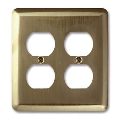 Brass 2-Gang 2 Duplex Wall Plate (1-Pack)