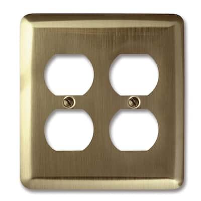 Brass 2-Gang 2 Duplex Wall Plate (1-Pack)