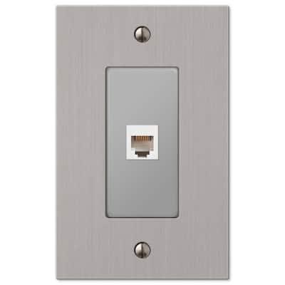 Barnard 1 Gang Phone Metal Wall Plate - Brushed Nickel