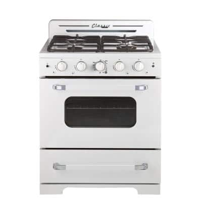 Classic Retro 30 in. 3.9 cu. ft. Gas Range with Convection Oven in Marshmallow White