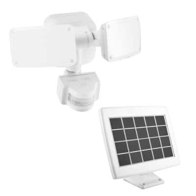 1000 Lumens 180° White Solar Powered Motion Activated Outdoor Integrated LED Flood Light