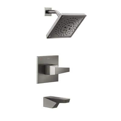 Trillian 1-Handle Wall-Mount Tub and Shower Trim Kit in Black Stainless (Valve not Included)