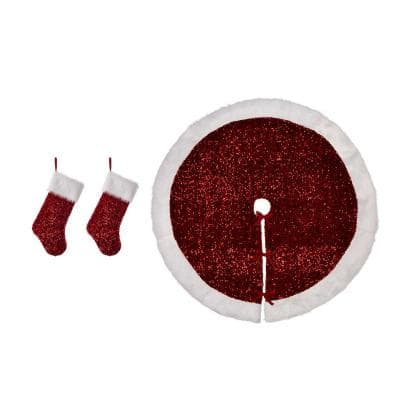 0.39 in. Red Sequin Christmas Tree Skirt (Set of 3)