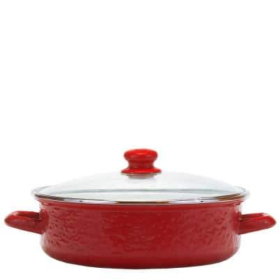 Solid Red 3 qt. Enamelware Saute Pan with Glass Lid