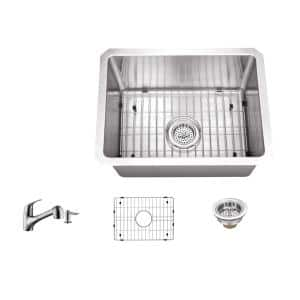 16 Gauge Stainless Steel 15 in. Undermount Radius Bar Sink with Pull Out Faucet and Accessories