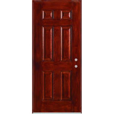 36 in. x 80 in. Left-Hand Infinity 6-Panel Stained Fiberglass Woodgrain Prehung Front Door with Brickmould