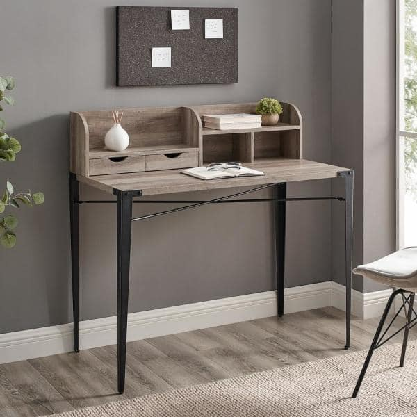 Welwick Designs 42 in. Grey Wash Rectangular 2 -Drawer Secretary Desk with Hutch | The Home Depot