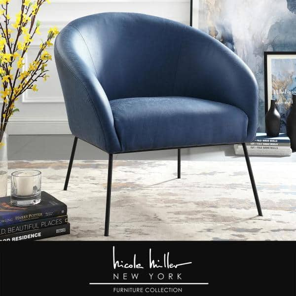 Nicole Miller Darrell Navy Black Pu, Black Leather Accent Chairs For Living Room