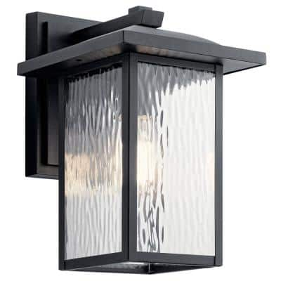 Capanna 1-Light Textured Black Outdoor Wall Mount Sconce with Clear Water Glass