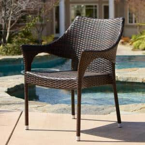 Cliff Multi Brown Wicker Outdoor Dining Chairs (Set of 2)