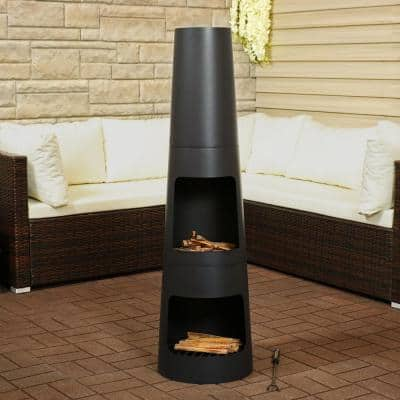 49 in. Steel Outdoor Wood Burning Chiminea Fire Pit with Built-In Log Storage