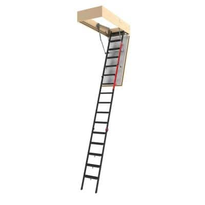 LMF 60, 9 ft. 7.5 in. - 11 ft. 10 in., 30 in. x 56.5 in. Fire-Rated Insulated Metal Attic Ladder, 350 lbs. Load Capacity