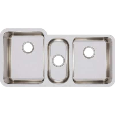 Lustertone Undermount Stainless Steel 40 in. Triple Bowl Kitchen Sink