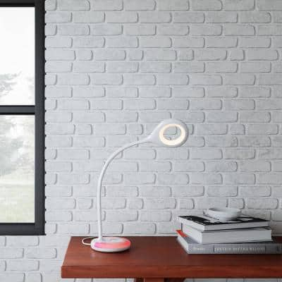 19 in. White LED Task Lamp with Color Changing